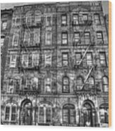 Led Zeppelin Physical Graffiti Building In Black And White Wood Print