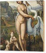 Leda And Swan Wood Print