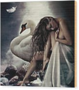 Leda And The Swan Wood Print by Shanina Conway