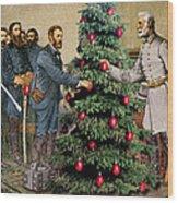 Lee And Grant At Appomattox Wood Print