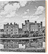 Leeds Castle Black And White Wood Print