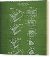 Lego Toy Building Blocks Patent - Green Wood Print by Aged Pixel