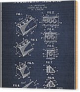 Lego Toy Building Blocks Patent - Navy Blue Wood Print by Aged Pixel