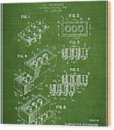 Lego Toy Building Brick Patent - Green Wood Print by Aged Pixel