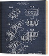 Lego Toy Building Brick Patent - Navy Blue Wood Print by Aged Pixel