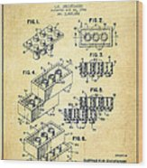 Lego Toy Building Brick Patent - Vintage Wood Print