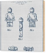 Lego Toy Figure Patent - Blue Ink Wood Print