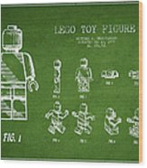 Lego Toy Figure Patent Drawing From 1979 - Green Wood Print