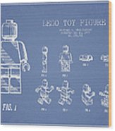 Lego Toy Figure Patent Drawing From 1979 - Light Blue Wood Print