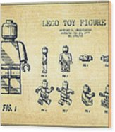 Lego Toy Figure Patent Drawing From 1979 - Vintage Wood Print by Aged Pixel