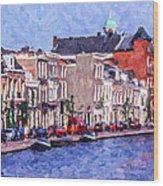 Leiden Canal Wood Print