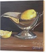 Lemon In Saucer Wood Print