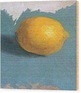 Lemon On Blue Cloth Wood Print