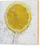 Lemon Splash Wood Print
