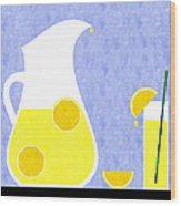 Lemonade And Glass Blue Wood Print