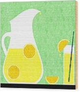 Lemonade And Glass Green Wood Print