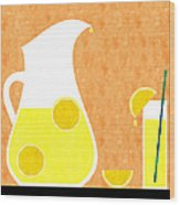 Lemonade And Glass Orange Wood Print