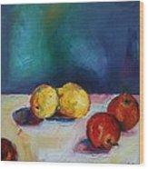 Lemons And Apples Wood Print