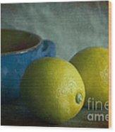 Lemons And Blue Terracotta Pot Wood Print