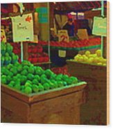 Lemons And Limes Farmers Market Food Stalls Market Vendors Vegetable Food Art Carole Spandau Wood Print