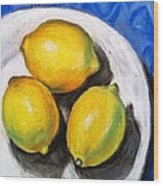 Lemons On Blue Wood Print