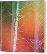 Lens Flare In The Forest Wood Print