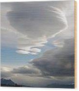 Lenticular Cloud Over Puerto Natales Wood Print