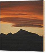 Lenticular Clouds Over Longs Peak Wood Print