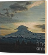 Lenticular Sunset On Mount Hood Wood Print