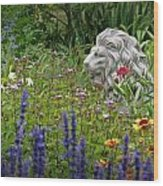 Leo In The Garden Wood Print