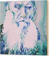 Leo Tolstoy Watercolor Portrait.2 Wood Print