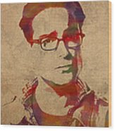 Leonard Hofstadter Watercolor Portrait Big Bang Theory On Distressed Worn Canvas Wood Print