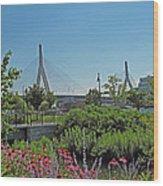 Leonard P Zakim Bridge From Cambridge Wood Print