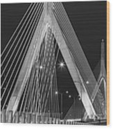 Leonard P. Zakim Bunker Hill Memorial Bridge Bw Wood Print