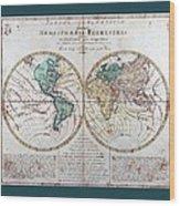 Leonhard Euler World Map 1760 Ad With Matching Grey Aqua Small Border Wood Print