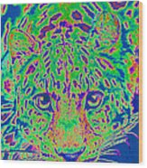Leopard Eyes Green Wood Print