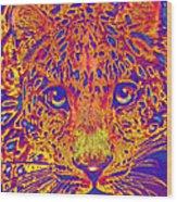 Leopard Eyes Orange Wood Print