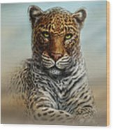 Leopard In The Mist Wood Print