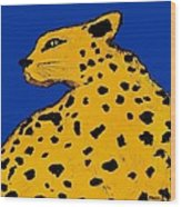 Leopard On Blue Wood Print