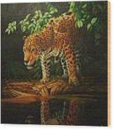 Leopard On Pond Wood Print
