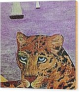 Leopard On The Water Wood Print