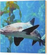 Leopard Shark Watercolor Wood Print
