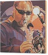 Leroi Moore Purple And Orange Wood Print