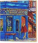 Les Belles Soeurs  Montreal Restaurant Plateau Mont Royal Painting By Carole Spandau Wood Print