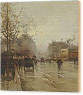 Les Boulevards Paris Wood Print by Eugene Galien-Laloue