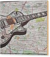 Les Paul On Austin Map Wood Print by William Cauthern