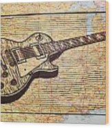 Les Paul On Usa Map Wood Print by William Cauthern