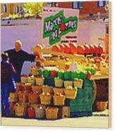Les Pommes Fruiterie Marcel Vert Pommes Red Apples Jean Talon  Market Scenes Carole Spandau  Wood Print