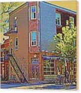Les Saveurs Cafe Resto Grillades Tapas Petit Dejeuner Montreal French Cafe City Scene Carole Spandau Wood Print