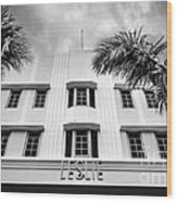 Leslie Hotel South Beach Miami Art Deco Detail - Black And White Wood Print by Ian Monk